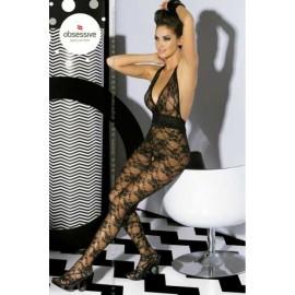 Sexy lingerie donna Obsessive,Bodystocking floreale+schiena nuda