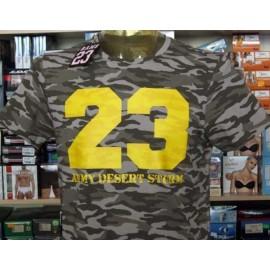 T-shirt uomo Rams 23 mimetico chiaro con stampa grande fluo