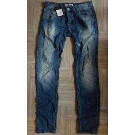 Jeans uomo Invictus elasticizzato e stropicciato con rotture medie
