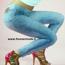 Leggings donna Bugie effetto jeans in microfibra stampata con rotture