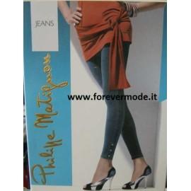 Pantacollant donna Matignon effetto jeans, bottoni sul tallone