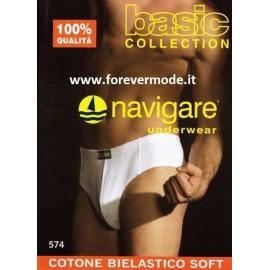 3 Slip uomo Navigare cotone bielastico con elastico infilato