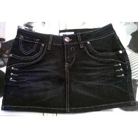 Minigonna donna Papeete jeans con cuciture argentate e borchie