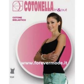 Canottiera donna Cotonella spalla stretta in cotone bielastico