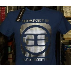 T-shirt uomo Papeete royal con stampa logo frontale argentato