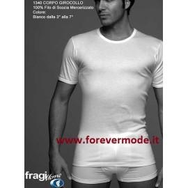 T-Shirt uomo Fragi mezza manica girocollo in cotone, collo basso