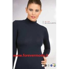 Maglia donna Egi esternabile manica lunga con collo a lupetto in cotone modal