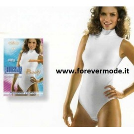 Body donna Bellissima senza maniche con collo a lupetto in microfibra