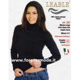 Maglia donna Leable manica lunga a dolcevita in caldo cotone invernale