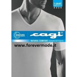 T-shirt uomo Cagi con scollo V, cotone senza cuciture ai fianchi