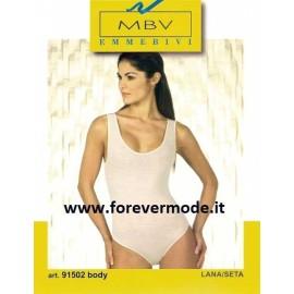 Body donna Emmebivi spalla larga in lana seta, profili in raso