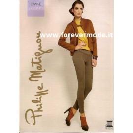 Leggings pantalone donna Matignon in cotone con finte tasche dietro