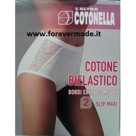 2 Slip donna Cotonella Maxi in cotone con inserti di pizzo