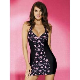 Sexy lingerie donna Obsessive, Corazone chemise scollato +strass