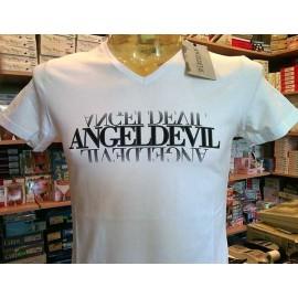 T-shirt maglia uomo Angel Devil con logo stampato frontale