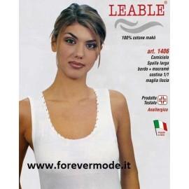 3 Canotte donna Leable a spalla larga in cotone makò e pizzo