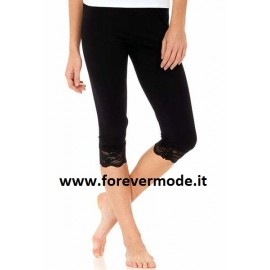 Leggings donna Tramonte in morbida microfibra con bordo in pizzo