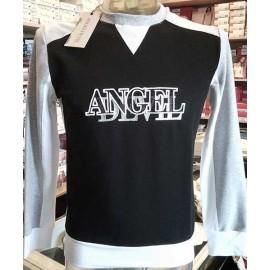 Felpa uomo Angel Devil estiva a girocollo con logo ricamato