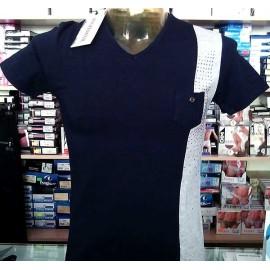 T-shirt maglia uomo Angel Devil con scollo V, banda e borchie