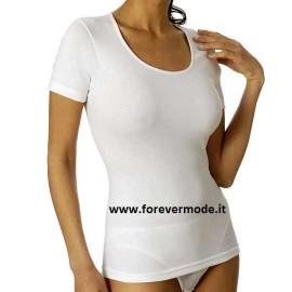 3 T-shirt donna Vajolet girocollo in caldo cotone, scollo ampio