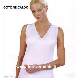 3 Canotte donna Intissimopiu spalla larga cotone caldo con seno
