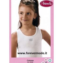 3 Canottiere bambina Antonella spalla larga in cotone con ricamo