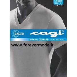 T-shirt uomo Cagi con scollo V in cotone a base colorata