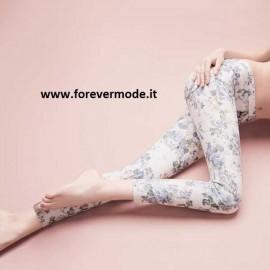 Leggings donna Matignon floreale su jaquard, tasche sul retro