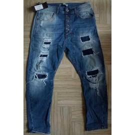 Jeans uomo Lucy & Man in cotone elasticizzato con rotture
