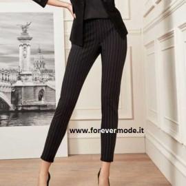 Leggings pantalone donna Matignon rigati con finte tasche dietro