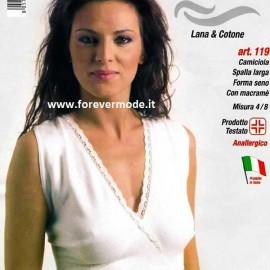 3 Canotte donna Leable spalla larga in lana cotone + forma seno