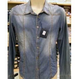 Camicia uomo Y TWO in Jeans manica lunga taglio slim