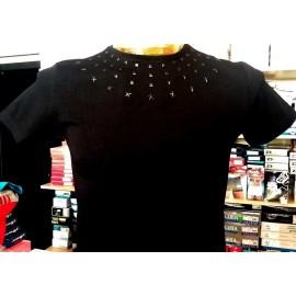 T-shirt maglia uomo Angel Devil con girocollo borchiato, stampa logo dietro