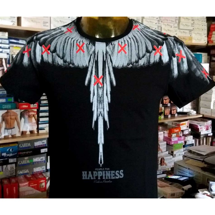 T-shirt uomo Happiness in cotone con stampa ali frontale