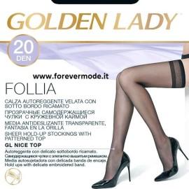 10 Paia Autoreggenti donna Golden Lady 20 con bordo ricamato