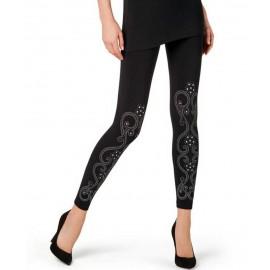 Leggings donna Matignon in microfibra con motivo stampato arabescato