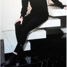 Leggings donna Matignon in microfibra con applicazione alla caviglia