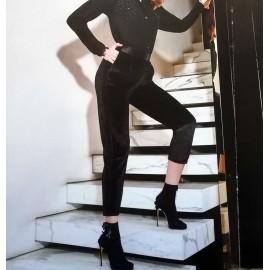 Leggings donna Matignon in velluto liscio con bande laterali in raso