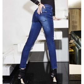Leggings donna Matignon jeans in cotone con tasche sfrangiate e cerniera