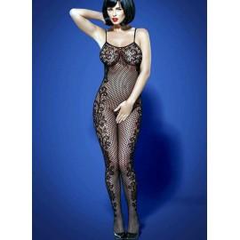 Sexy lingerie donna Obsessive, F219 Bodystocking con ricami floreali