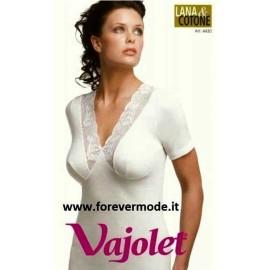 3 T-shirt donna Vajolet inlana cotone con pizzo macramè e forma del seno