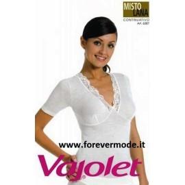 T-shirt donna Vajolet manica corta in misto lana con forma del seno e pizzo