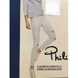 Leggings donna Matignon jeans in cotone con rotture e tasche vere dietro