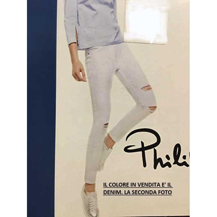 Leggings donna Matignon jeans in cotone con rotture e vere tasche dietro