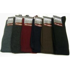 6 Paia di Calze uomo Ciocca corte peso medio in pura lana superwash a costa media