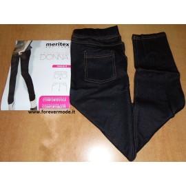 Leggings donna Meritex jeans in cotone confortevole con tasche dietro