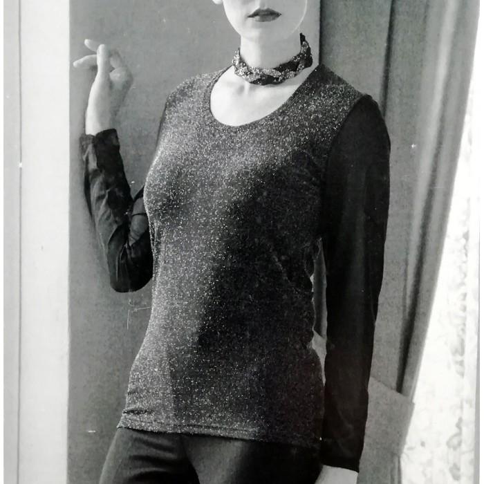 Maglia donna Marta Marzotto scollo ampio manica lunga in viscosa e lurex