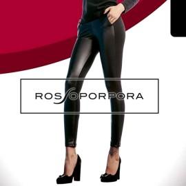 Leggings donna Rossoporpora in cotone felpato con parte frontale in eco pelle