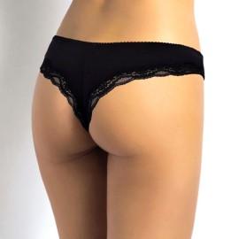 6 Slip Brasiliana donna SieLei in cotone elasticizzato con profili in pizzo