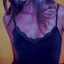 Canottiera top donna MBV a spalla stretta in cotone con profilo in pizzo